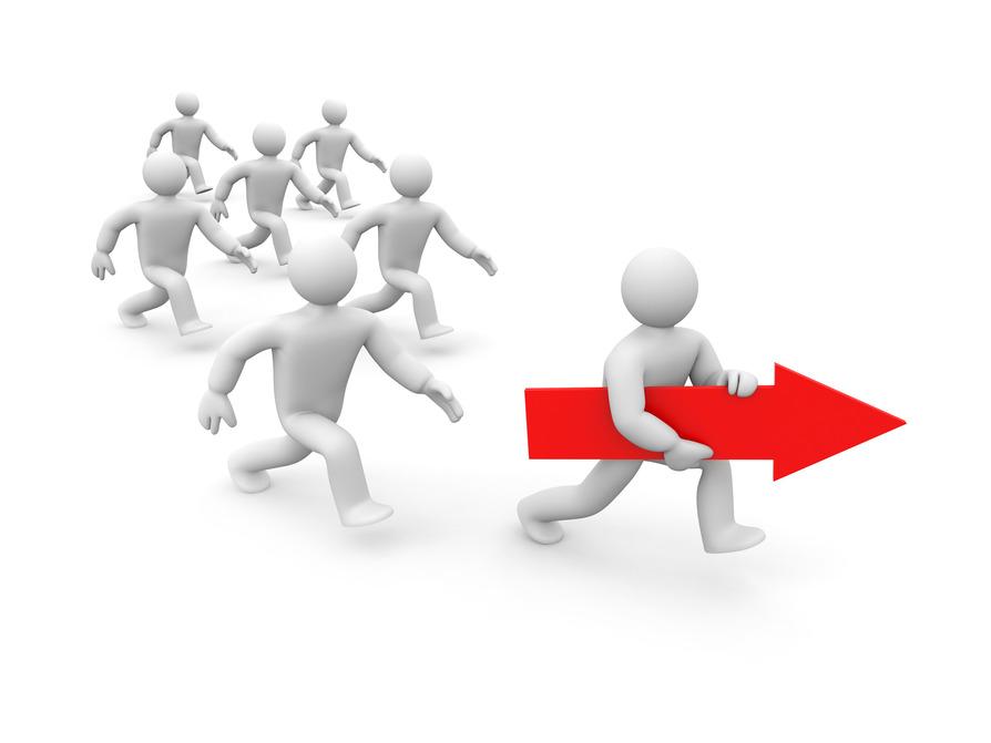 Le leader porte la flèche rouge du sens.. C'est lourd