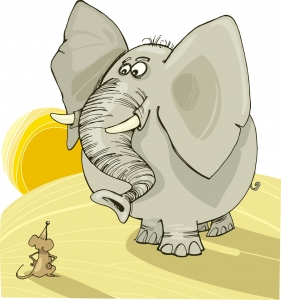 Illustration of elephant and mouse